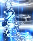 蓝色和白色金属齿轮的未来派机器人女孩在抽象背景 免版税库存照片