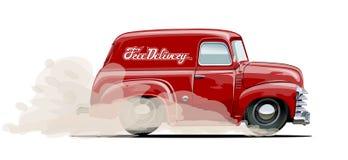 Αναδρομικό φορτηγό παράδοσης κινούμενων σχεδίων Στοκ εικόνες με δικαίωμα ελεύθερης χρήσης