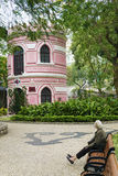 葡萄牙殖民地建筑学和庭院澳门瓷的 免版税图库摄影