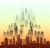 城市背景由许多大厦剪影做成 免版税库存照片