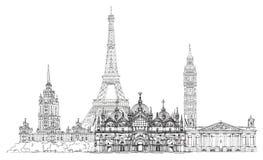Διάσημα κτήρια της Ευρώπης Λονδίνο, Παρίσι, Μόσχα Υπόβαθρο ταξιδιού και επιχειρήσεων Στοκ Εικόνα