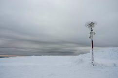 与显示方向的冻结的标志的阴沉的冬天风景 免版税库存图片