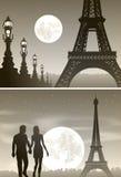 Νύχτα Παρίσι και ζεύγος ερωτευμένο Στοκ Εικόνες