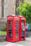 不列颠电信红色电话亭,英国 免版税库存照片