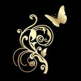 Χρυσή πεταλούδα δαντελλών στο μαύρο υπόβαθρο Στοκ φωτογραφία με δικαίωμα ελεύθερης χρήσης