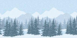 Безшовный ландшафт зимы с елями Стоковые Изображения RF