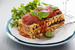 素食主义者烤宽面条用茄子和豆腐 免版税库存照片