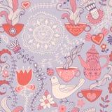 Картина ретро кофе безшовная, предпосылка чая, текстура с чашками Стоковая Фотография RF