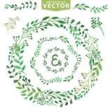 Комплект венка акварели Винтажные флористические лавры Стоковая Фотография