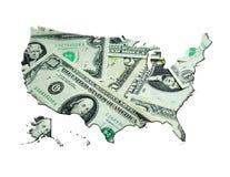 由美元做的美国的地图 库存图片