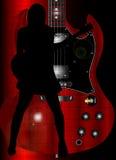 迷人的岩石吉他弹奏者 免版税库存图片