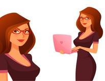 有膝上型计算机的逗人喜爱的动画片女孩 免版税库存图片
