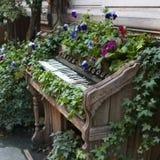 老钢琴使用而不是床,作为公园的装饰 免版税库存图片