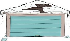 Γκαράζ με το χιόνι στη στέγη Στοκ Εικόνες