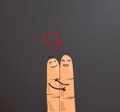 Ευτυχής έννοια ζευγών δάχτυλων Δάχτυλα που αγκαλιάζουν και που παρουσιάζουν αγάπη που απομονώνεται στο γκρίζο υπόβαθρο Στοκ Εικόνες