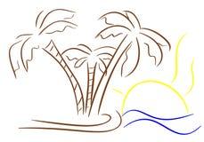 Пальмы при изолированное солнце Стоковое Изображение
