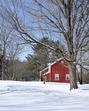 经典佛蒙特红色房子在冬天 库存照片