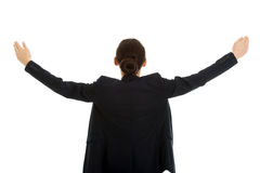 有大开的胳膊的女实业家 免版税库存图片