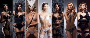 色情内衣的年轻和性感的女孩 女用贴身内衣裤汇集 免版税库存照片
