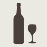 Комплект знака бутылки вина Значок бутылки Стоковая Фотография RF