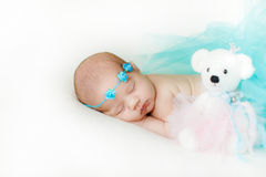 Η φωτογραφία ενός νεογέννητου μωρού κατσάρωσε επάνω να κοιμηθεί σε ένα κάλυμμα Στοκ φωτογραφία με δικαίωμα ελεύθερης χρήσης