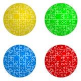 Καθορισμένη μορφή γρίφων τορνευτικών πριονιών σφαιρών τέσσερα χρώματα Στοκ Εικόνα