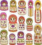 Ρωσικές κούκλες καθορισμένες Στοκ Φωτογραφία
