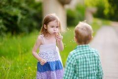 Αστείες καλές φυσαλίδες σαπουνιών μικρών κοριτσιών φυσώντας Στοκ φωτογραφία με δικαίωμα ελεύθερης χρήσης