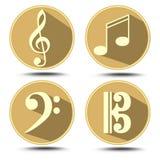 Комплект символа музыки в круге с длинной тенью Дискантовый ключ, басовый ключ, примечание музыки Стоковые Изображения
