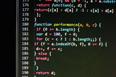 Κωδικοποιώντας οθόνη κωδικού πηγής προγραμματισμού Ζωηρόχρωμη αφηρημένη επίδειξη στοιχείων Χειρόγραφο προγράμματος Ιστού προγραμμ Στοκ Φωτογραφία