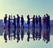 商人纽约室外会议剪影概念 库存图片