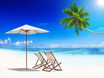 轻便折叠躺椅热带海滩夏天放松假期概念 库存图片
