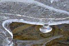 在小河的冰柱 免版税库存图片