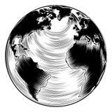 Винтажная иллюстрация глобуса Стоковое Изображение