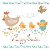 与鸡和小鸡的逗人喜爱的复活节卡片 免版税库存图片