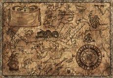 与成为不饱和的作用的老海盗地图 免版税库存图片