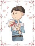 父亲哺养的哭泣的婴孩传染媒介动画片 库存图片