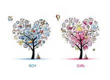 Διαμορφωμένο καρδιά σχέδιο δέντρων για το αγοράκι και το κορίτσι Στοκ Εικόνες