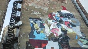 克拉科夫,波兰-由未认出的艺术家的墙壁上的街道艺术犹太四分之一卡齐米日的 库存图片