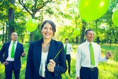 绿色企业队不伤环境的概念 免版税库存照片