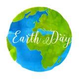 与水彩油漆纹理的地球日海报 免版税库存图片