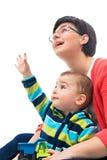 小男孩点手指 免版税库存图片