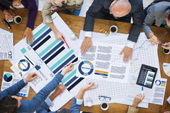 遇见公司分析研究概念的商人 库存照片