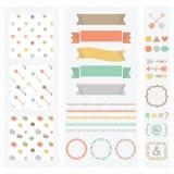 Милый комплект элементов дизайна светлого цвета Стоковые Изображения