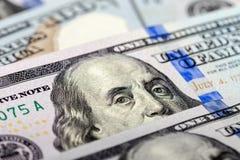 从美元钞票的本杰明・富兰克林画象 免版税库存照片