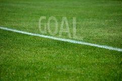 橄榄球在草的目标文本与白色车道 库存照片