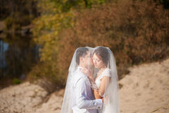 结婚的婚姻的夫妇蜜月  愉快的新娘,站立在海滩的新郎,亲吻,微笑,笑,获得在海滩的乐趣 免版税图库摄影