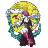 月亮的被隔绝的动画片哥特式王子 免版税库存照片