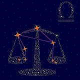 黄道带在满天星斗的天空的标志天秤座 库存图片