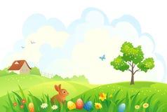 兔宝宝复活节草甸场面 免版税库存照片